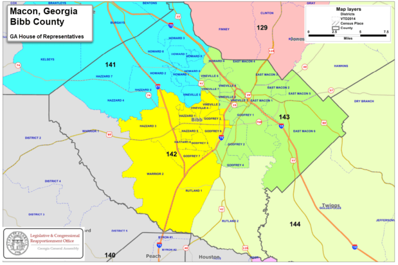 Macon-Bibb County is represented by five different state House districts, three of which are primarily based outside the county.