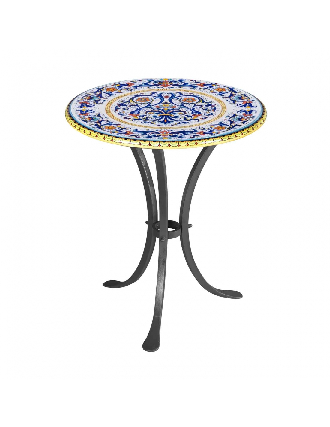 Tavolo ovale in pietra vulcanica con base di ferro zincata decorato a mano come da tradizione derutese. Round Table O 60 Cm With Our Ricco Deruta Collection
