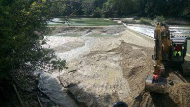 Mise à sec de la prise d'eau et du barrage