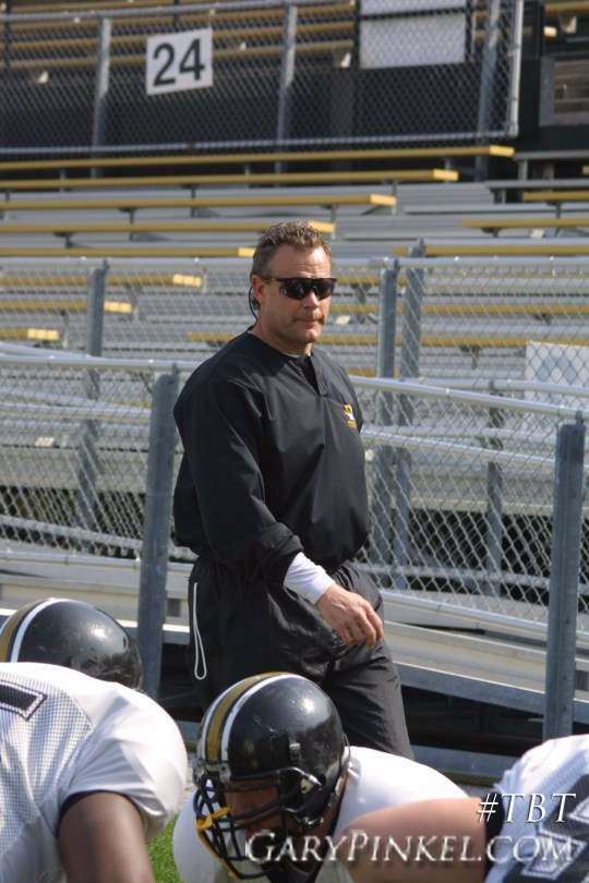 Mizzou Defensive Coordinator Dave Steckel coaching after arriving in Columbia, Mo. in Spring 2001.