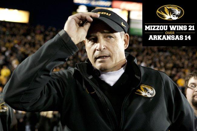 Coach Pinkel Mizzou Football Visor Battle Line Rivalry 2014