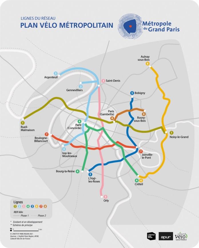 carte Plan vélo métropolitain