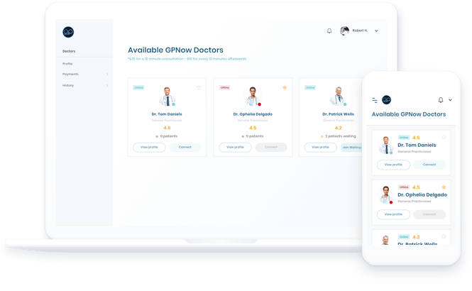 GP Now Telehealth Interface