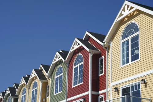 roofline of colorful townhouses