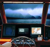 View from the bridge of a ship equipped with GPS navigation