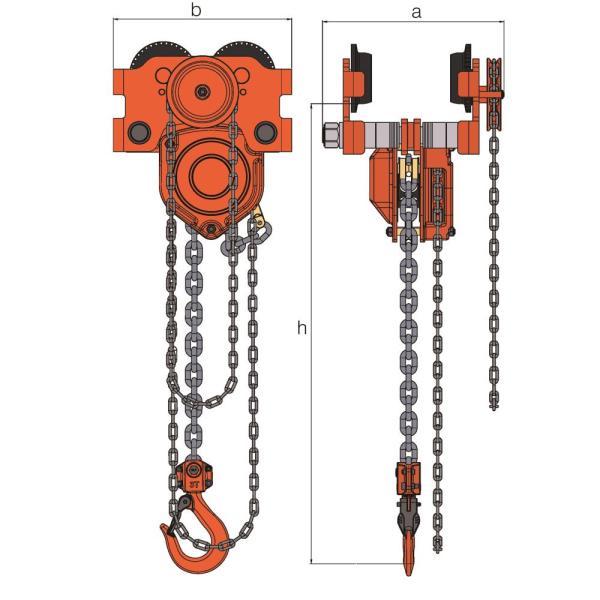 Hackett Chain hoist & Geared Trolley combined – Standard Beam Range WH-C4