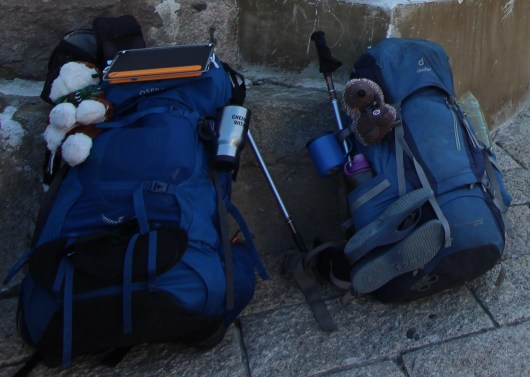 My pack on the left, Emily's on the right Day 1
