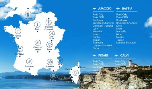 Carte des destination Air Corsica