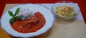 バイキング!モリクミ(森公美子)の時短!簡単!節約レシピ!さばのトマト煮&春キャベツサラダ