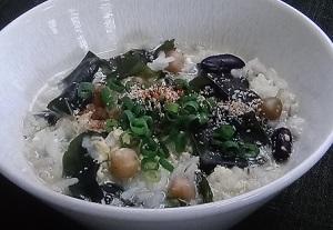【めざましテレビ】もち麦レシピ!海藻と豆の和風もち麦スープ!by浜田陽子