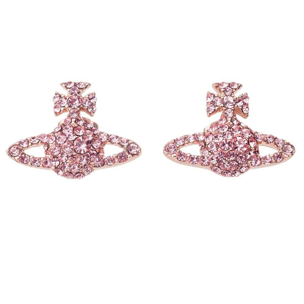 Vivienne Westwood Pink Gold Rose Crystal Grace Bas Relief Earrings