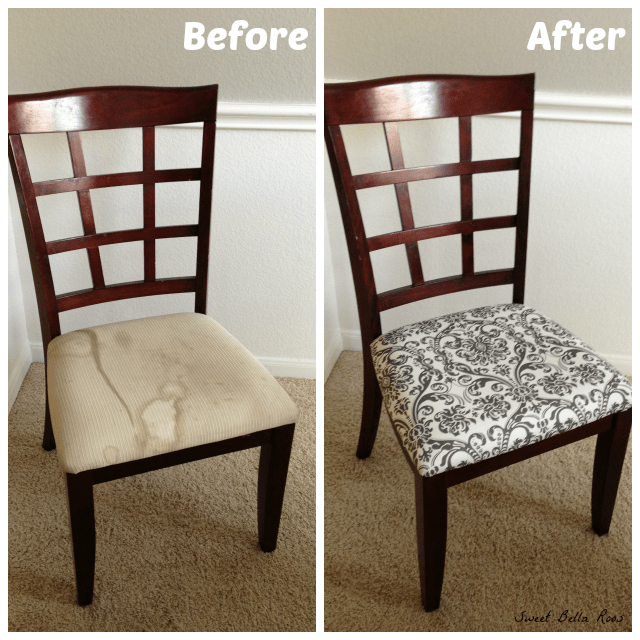 dining room chairs- if you think you can't recover a chair, you can. So easy!