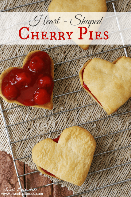 Heart Shaped Cherry Pies- TWO ingredients.  Seriously easy and cute! #valentines
