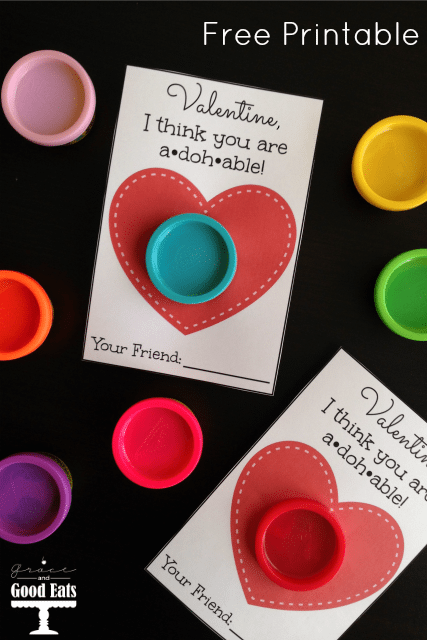 This Play-Doh Valentine Free Printable is a perfect non-candy treat option for Valentine's Day to gift with small 1oz packages of Play-Doh.