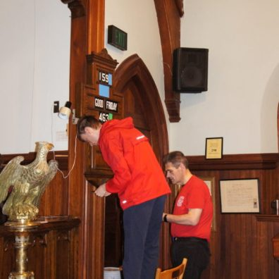 Setting up the hymn board
