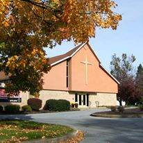 photo of Grace United Church of Christ, Eden, Pennsylvania, with maple tree.