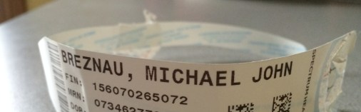 Wristband from Hospital. Michael