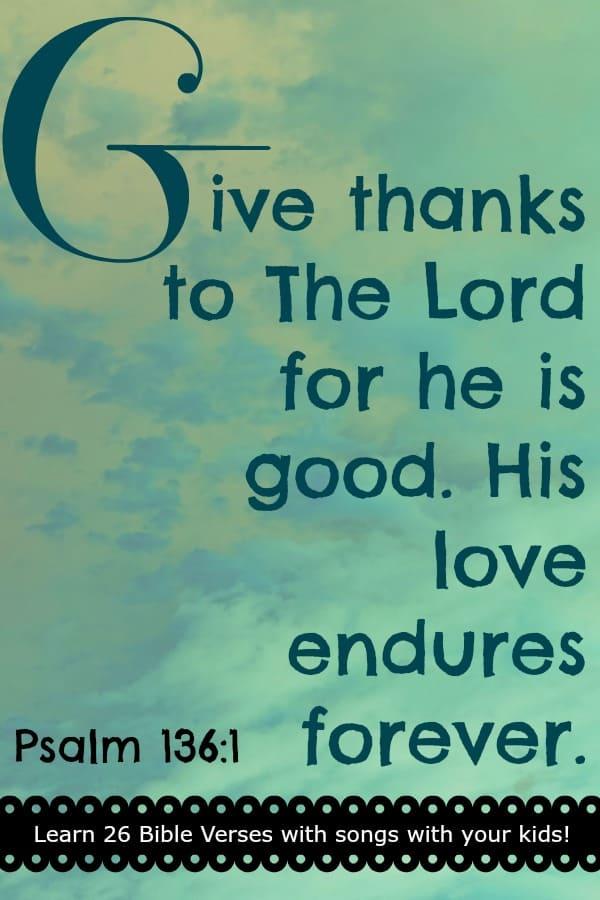 "Bible Memory Verse ""G"" Psalm 136:1"
