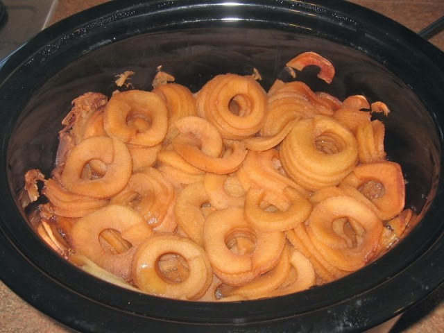Cooked apples in the slow cooker.