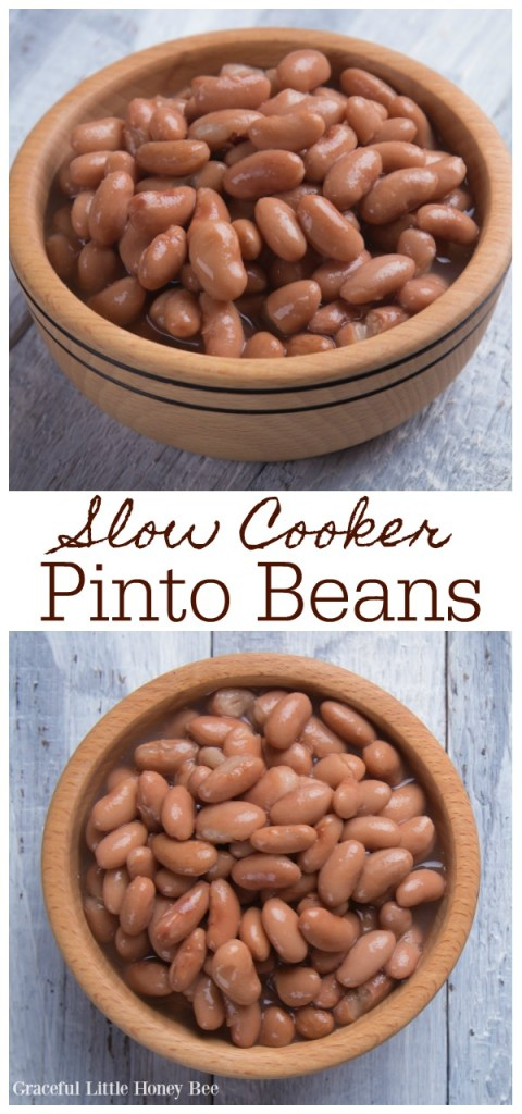A brown bowl full of cooked pinto beans.