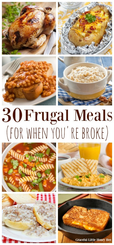 A collage of frugal meals.