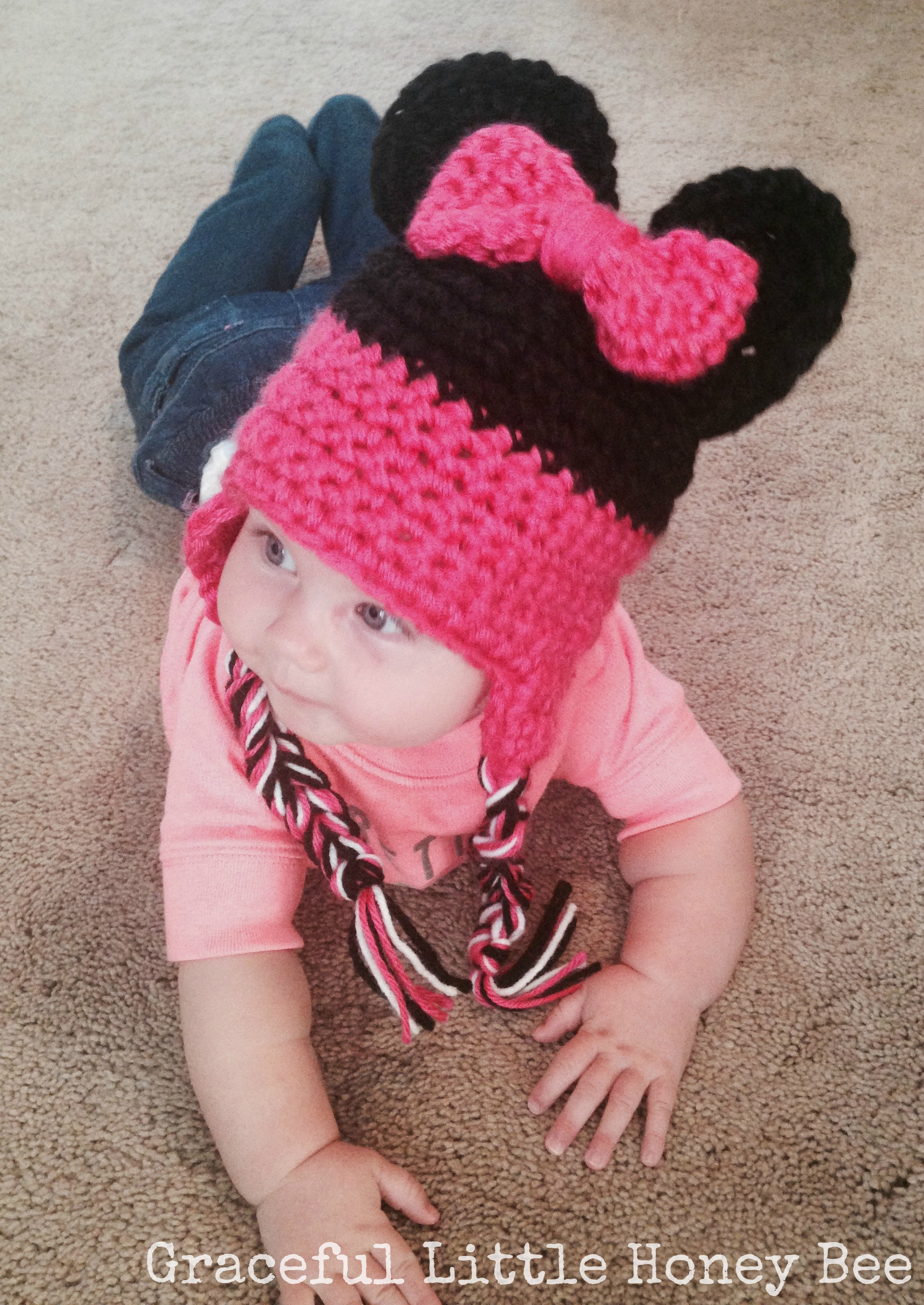 Crochet Minnie Mouse Hat - Graceful Little Honey Bee