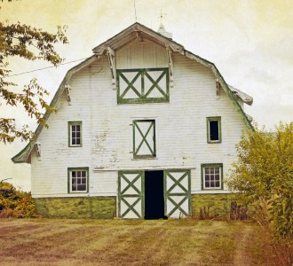Old white barn with green trim in a field.