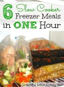 Learn how to make 6 easy slow cooker freezer meals in one hour! No cooking required!