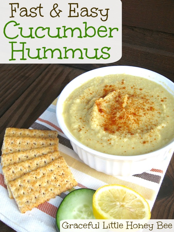 This cucumber hummus is made with sesame oil instead of tahini and is really good for you.