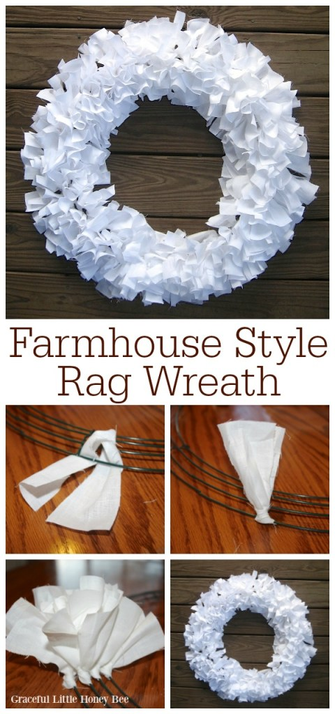 White farmhouse rag wreath on a wooden plank background.