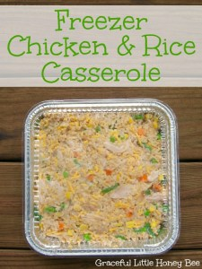 This easy chicken and rice casserole recipe make four freezer meals.