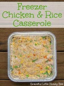 Freezer Chicken & Rice Casserole on gracefullittlehoneybee.com