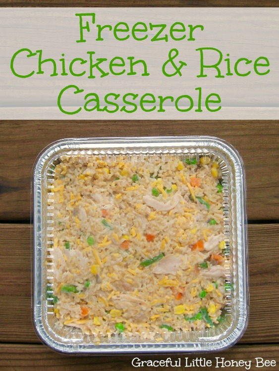 This easy chicken and rice casserole recipes make four freezer meals.