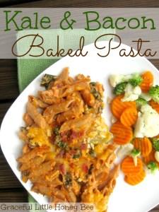 Kale and Bacon Baked Pasta on gracefullittlehoneybee.com #choppedathome #ad #sponsored