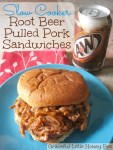 Slow Cooker Root Beer Pulled Pork Sandwiches on blue plate.