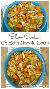 Easy Slow Cooker Chicken Noodle Soup recipe on gracefullittlehoneybee.com