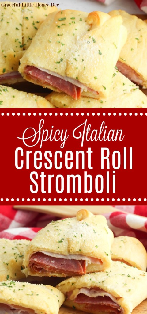 A collage of Spicy Italian Crescent Roll Stromboli sliced and sitting on top of one another.