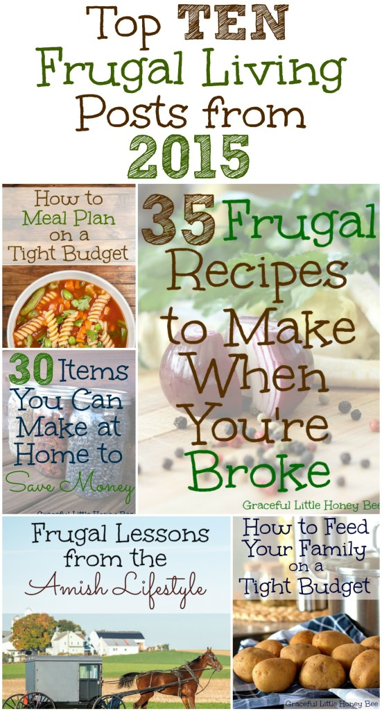 See the Top Ten Frugal Living Posts from 2015 on gracefullittlehoneybee.com
