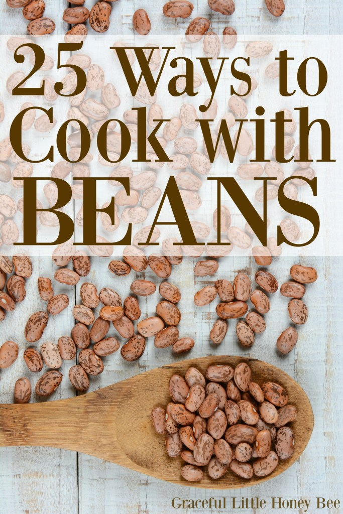 Beans are one of the most healthy and frugal forms of protein you can buy. Check out this list of 25 Ways to Cook with Beans for some creative ideas on gracefullittlehoneybee.com