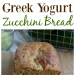 Sliced Greek Yogurt Zucchini Bread on a wooden cutting board.