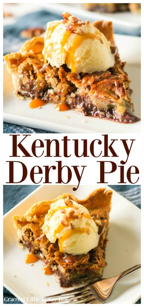 You are going to LOVE this Kentucky Derby Pie recipe. It's basically a chocolate chip pecan cookie in a pie crust.
