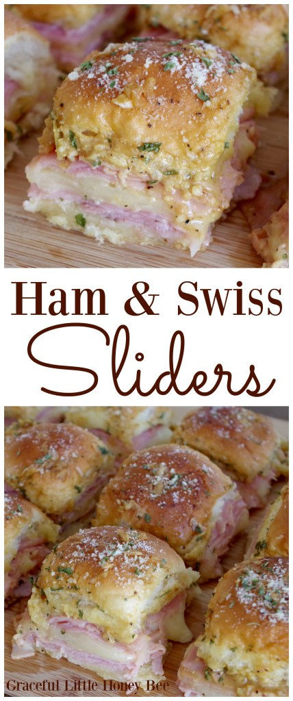 Ham and swiss sliders graceful little honey bee try these ham swiss sliders for a quick and easy treat at your next party forumfinder Choice Image