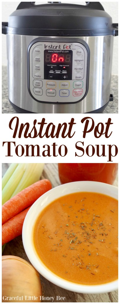 Try this super simple and healthy tomato soup in the Instant Pot for a quick family dinner on gracefullittlehoneybee.com
