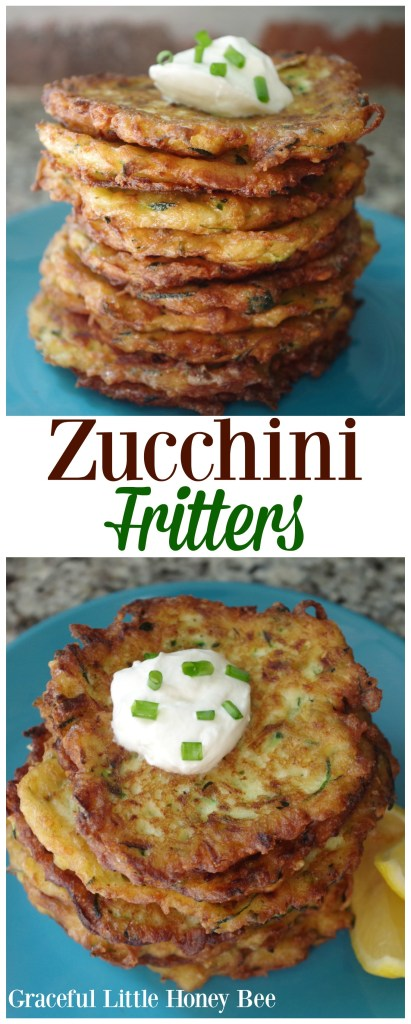 Whip up a batch of these delicious Zuccnini Fritters for a fun summertime side dish on gracefullittlehoneybee.com