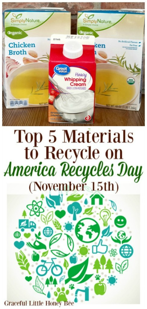 #AD Check out the Top 5 Materials to Recycle on America Recycles Day (November 15th)! #RecycleYourCartons #IC #CartonCouncilPartner #Recycle #ReduceReuseRecycle