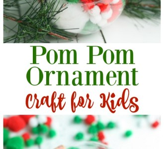 Try this super simple Pom Pom Ornament Craft for kids, toddlers and adults alike! Find the tutorial on gracefullittlehoneybee.com #diy #christmas #christmascrafts #christmasornament #craftsforkids