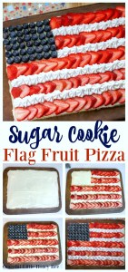 Make this super easy Sugar Cookie Flag Fruit Pizza for a fun 4th of July Dessert on gracefullittlehoneybee.com