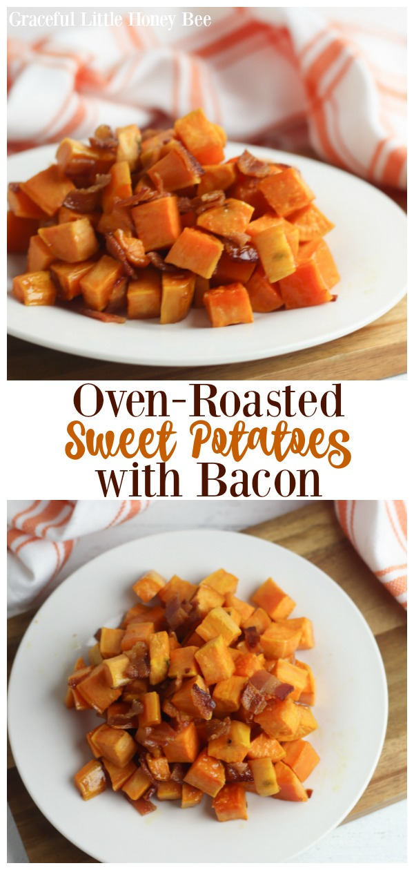 This Oven-Roasted Sweet Potatoes with Bacon recipe is simple, yet packed full of the sweet and savory flavors of fall, making it the perfect side dish for any crisp, cozy evening at home. Find the recipe at gracefullittlehoneybee.com
