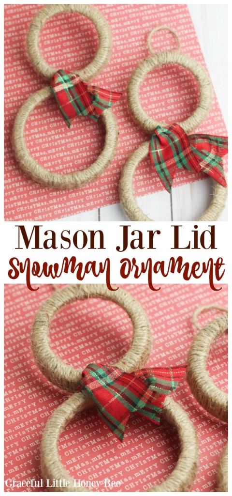 All you need is twine, mason jar lids, ribbon and hot glue to make this simple Mason Jar Lid Snowman Ornament!