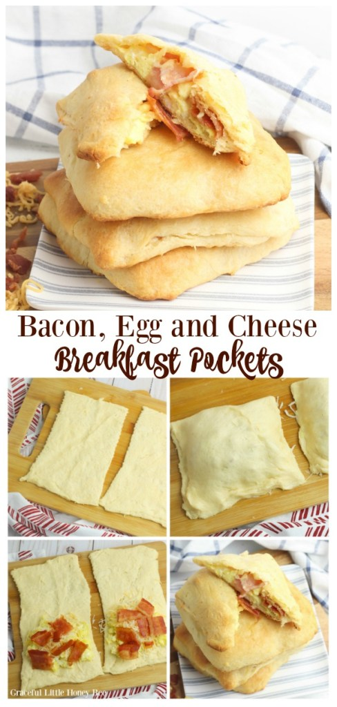 Bacon, Egg and Cheese Breakfast Pockets stacked on a plate.
